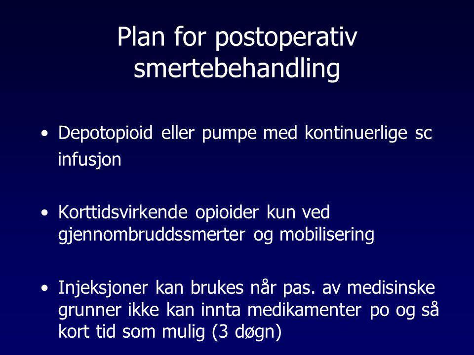 Plan for postoperativ smertebehandling •Depotopioid eller pumpe med kontinuerlige sc infusjon •Korttidsvirkende opioider kun ved gjennombruddssmerter