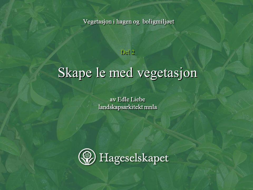 Vegetasjon i hagen og boligmiljøet Del 2 Skape le med vegetasjon av Edle Liebe landskapsarkitekt mnla