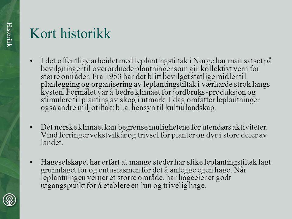 Kort historikk •I det offentlige arbeidet med leplantingstiltak i Norge har man satset på bevilgninger til overordnede plantninger som gir kollektivt