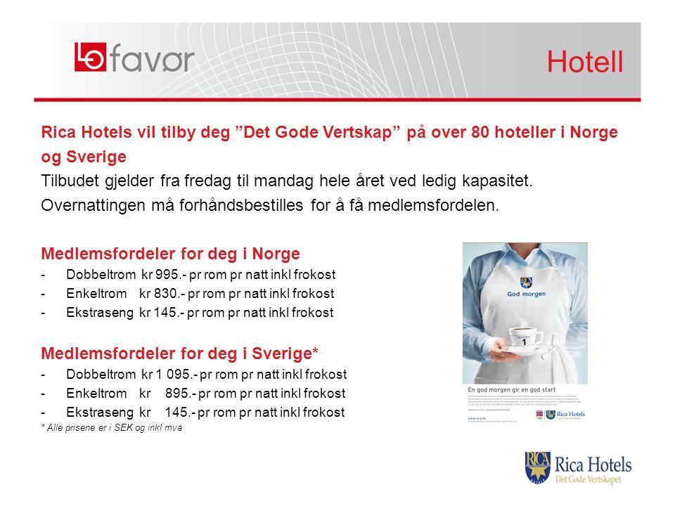 Rica Hotels vil tilby deg Det Gode Vertskap på over 80 hoteller i Norge og Sverige Tilbudet gjelder fra fredag til mandag hele året ved ledig kapasitet.
