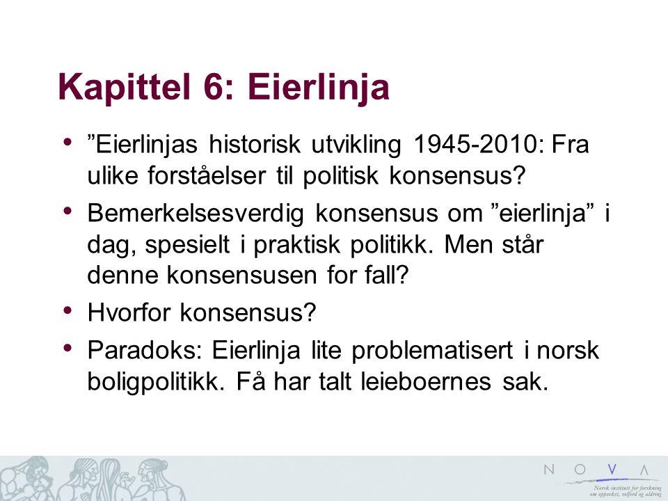 Kapittel 6: Eierlinja • Eierlinjas historisk utvikling 1945-2010: Fra ulike forståelser til politisk konsensus.
