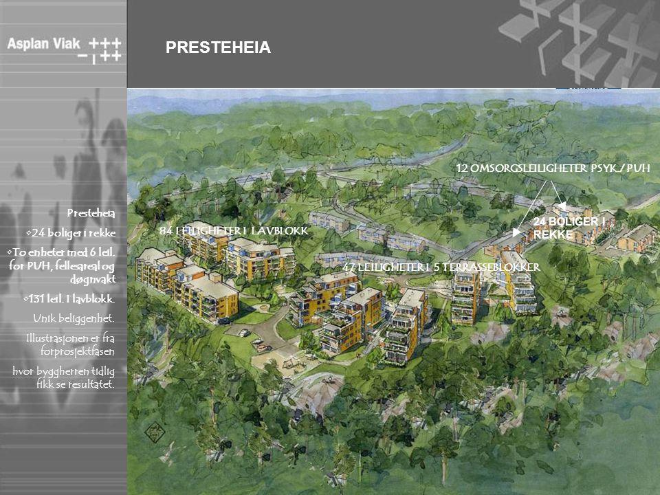 PRESTEHEIA Presteheia •24 boliger i rekke •To enheter med 6 leil. for PUH, fellesareal og døgnvakt •131 leil. I lavblokk. Unik beliggenhet. Illustrasj