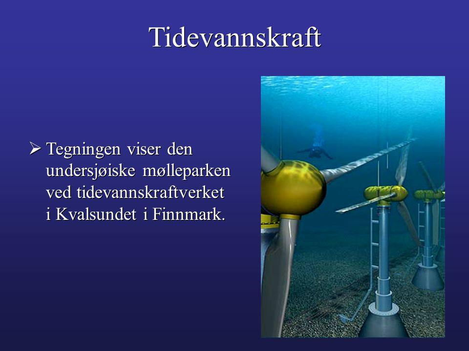  Tegningen viser den undersjøiske mølleparken ved tidevannskraftverket i Kvalsundet i Finnmark.  Tegningen viser den undersjøiske mølleparken ved ti