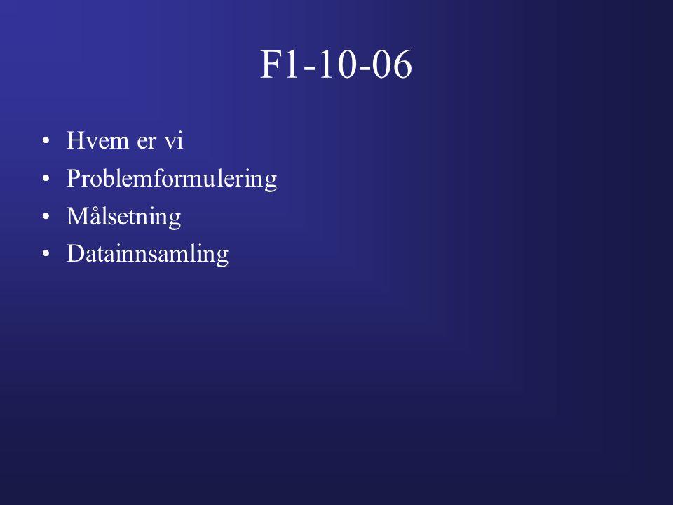 F1-10-06 •Hvem er vi •Problemformulering •Målsetning •Datainnsamling