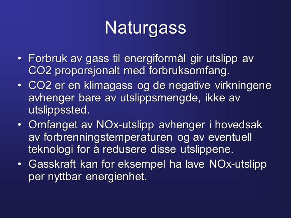 Naturgass •Forbruk av gass til energiformål gir utslipp av CO2 proporsjonalt med forbruksomfang. •CO2 er en klimagass og de negative virkningene avhen