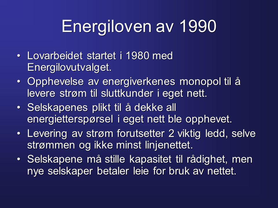 Energiloven av 1990 •Lovarbeidet startet i 1980 med Energilovutvalget. •Opphevelse av energiverkenes monopol til å levere strøm til sluttkunder i eget
