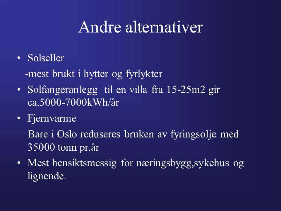 Andre alternativer •Solseller -mest brukt i hytter og fyrlykter •Solfangeranlegg til en villa fra 15-25m2 gir ca.5000-7000kWh/år •Fjernvarme Bare i Os