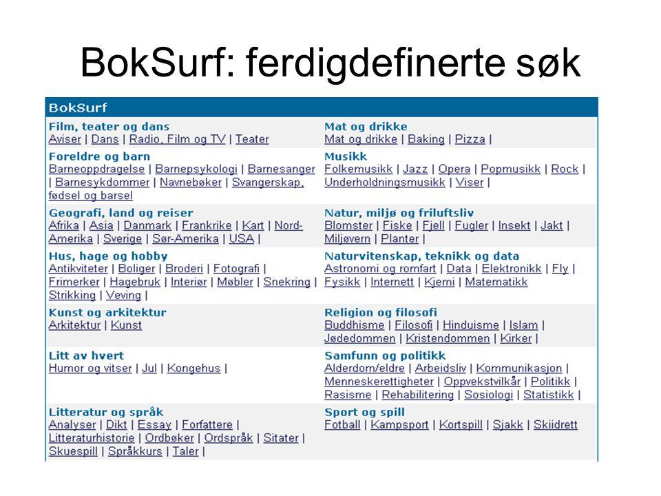 BokSurf: ferdigdefinerte søk