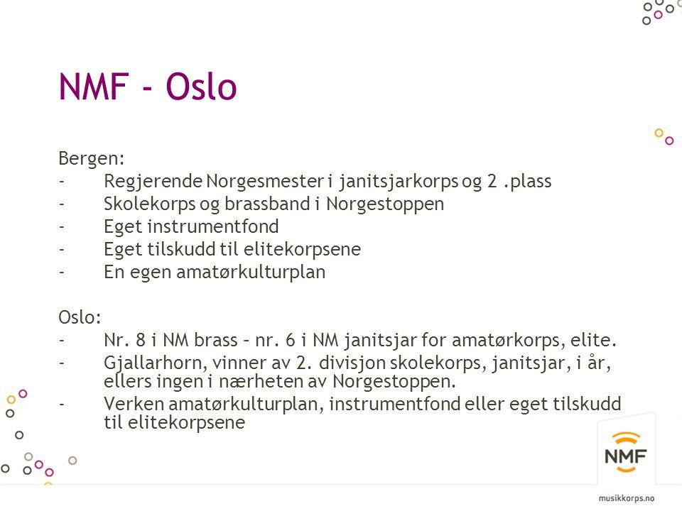 NMF - Oslo Bergen: -Regjerende Norgesmester i janitsjarkorps og 2.plass -Skolekorps og brassband i Norgestoppen -Eget instrumentfond -Eget tilskudd til elitekorpsene -En egen amatørkulturplan Oslo: -Nr.