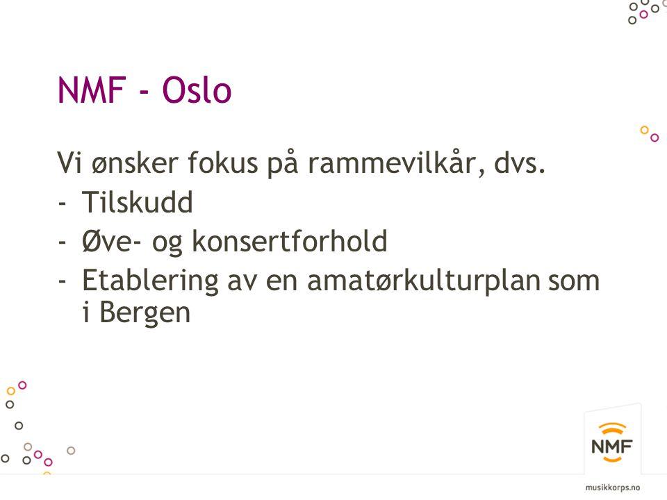 NMF - Oslo Vi ønsker fokus på rammevilkår, dvs. -Tilskudd -Øve- og konsertforhold -Etablering av en amatørkulturplan som i Bergen