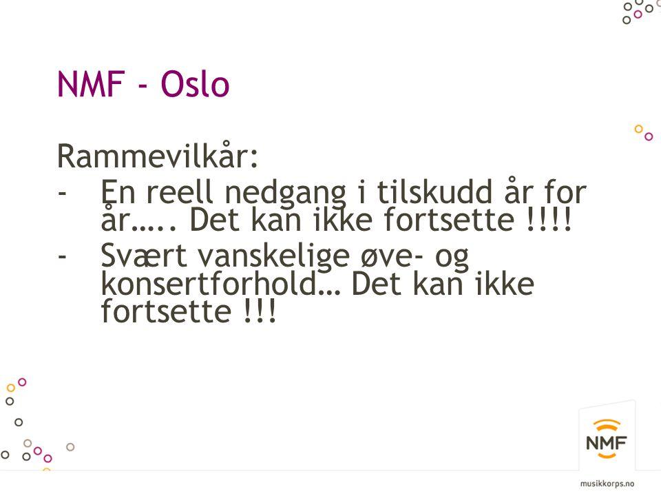 NMF - Oslo Rammevilkår: -En reell nedgang i tilskudd år for år….. Det kan ikke fortsette !!!! -Svært vanskelige øve- og konsertforhold… Det kan ikke f