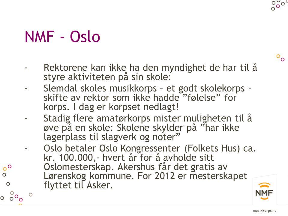 NMF - Oslo -Rektorene kan ikke ha den myndighet de har til å styre aktiviteten på sin skole: -Slemdal skoles musikkorps – et godt skolekorps – skifte av rektor som ikke hadde følelse for korps.