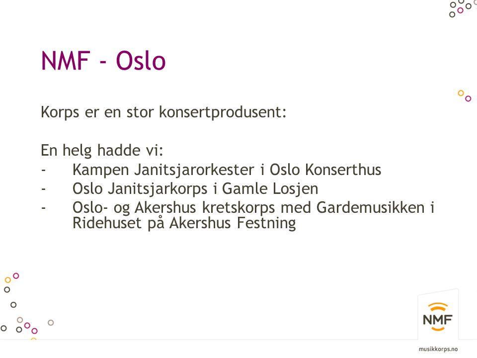 NMF - Oslo Korps er en stor konsertprodusent: En helg hadde vi: -Kampen Janitsjarorkester i Oslo Konserthus -Oslo Janitsjarkorps i Gamle Losjen -Oslo- og Akershus kretskorps med Gardemusikken i Ridehuset på Akershus Festning