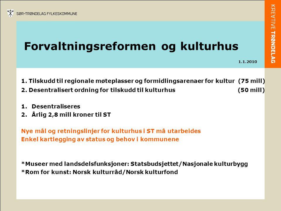 1. Tilskudd til regionale møteplasser og formidlingsarenaer for kultur (75 mill) 2.