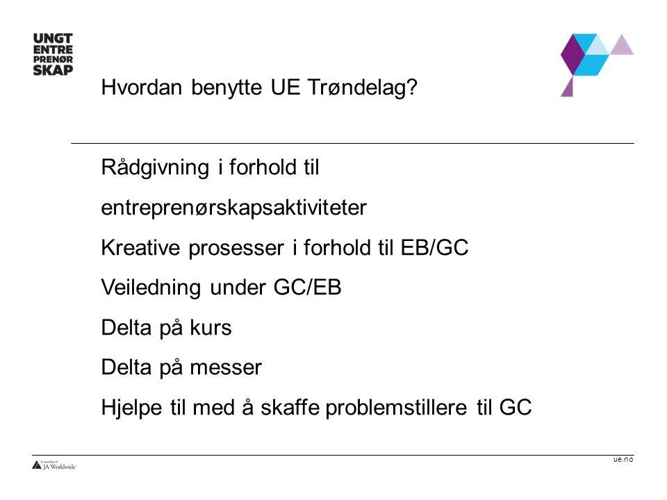 ue.no Hvordan benytte UE Trøndelag? Rådgivning i forhold til entreprenørskapsaktiviteter Kreative prosesser i forhold til EB/GC Veiledning under GC/EB