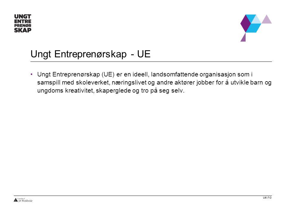 ue.no Ungt Entreprenørskap - UE •Ungt Entreprenørskap (UE) er en ideell, landsomfattende organisasjon som i samspill med skoleverket, næringslivet og