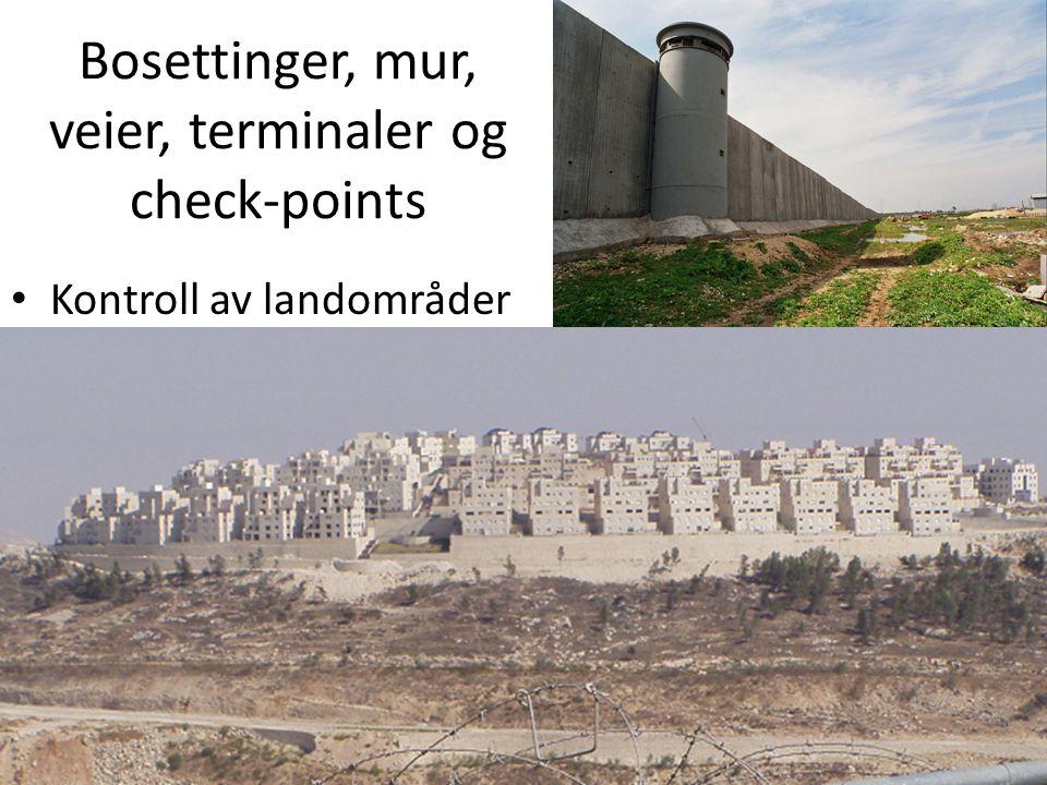 Bosettinger / Kolonier • Ulovlige kolonier som bygges på Okkupert land • Iht 4.Geneve konvensjonens 49 artikkel er det ikke lov for en okkupasjonsmakt og overføre egen sivil befolkning til okkupert område • Bosettere flyttet ut av Gaza 2005