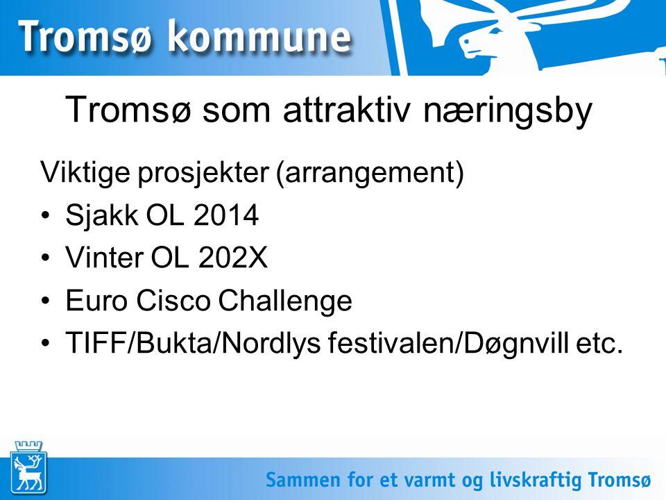 Tromsø som attraktiv næringsby Viktige prosjekter (arrangement) •Sjakk OL 2014 •Vinter OL 202X •Euro Cisco Challenge •TIFF/Bukta/Nordlys festivalen/Døgnvill etc.