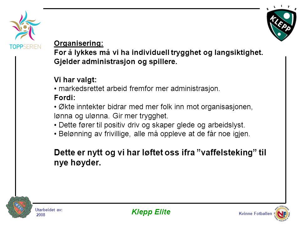 Kvinne Fotballen Klepp Elite Utarbeidet av: 2008 Organisering: For å lykkes må vi ha individuell trygghet og langsiktighet.