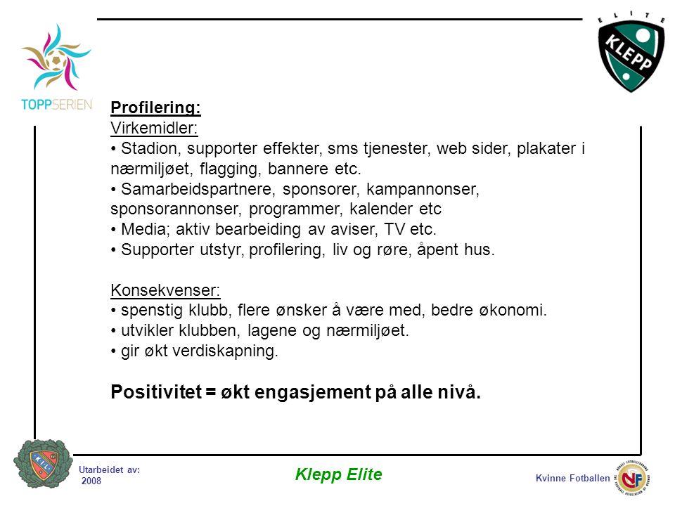 Kvinne Fotballen Klepp Elite Utarbeidet av: 2008 Profilering: Virkemidler: • Stadion, supporter effekter, sms tjenester, web sider, plakater i nærmiljøet, flagging, bannere etc.