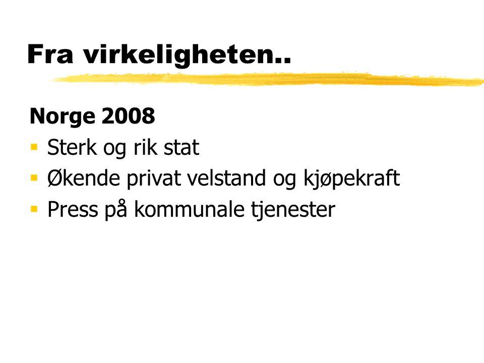 Fra virkeligheten.. Norge 2008  Sterk og rik stat  Økende privat velstand og kjøpekraft  Press på kommunale tjenester