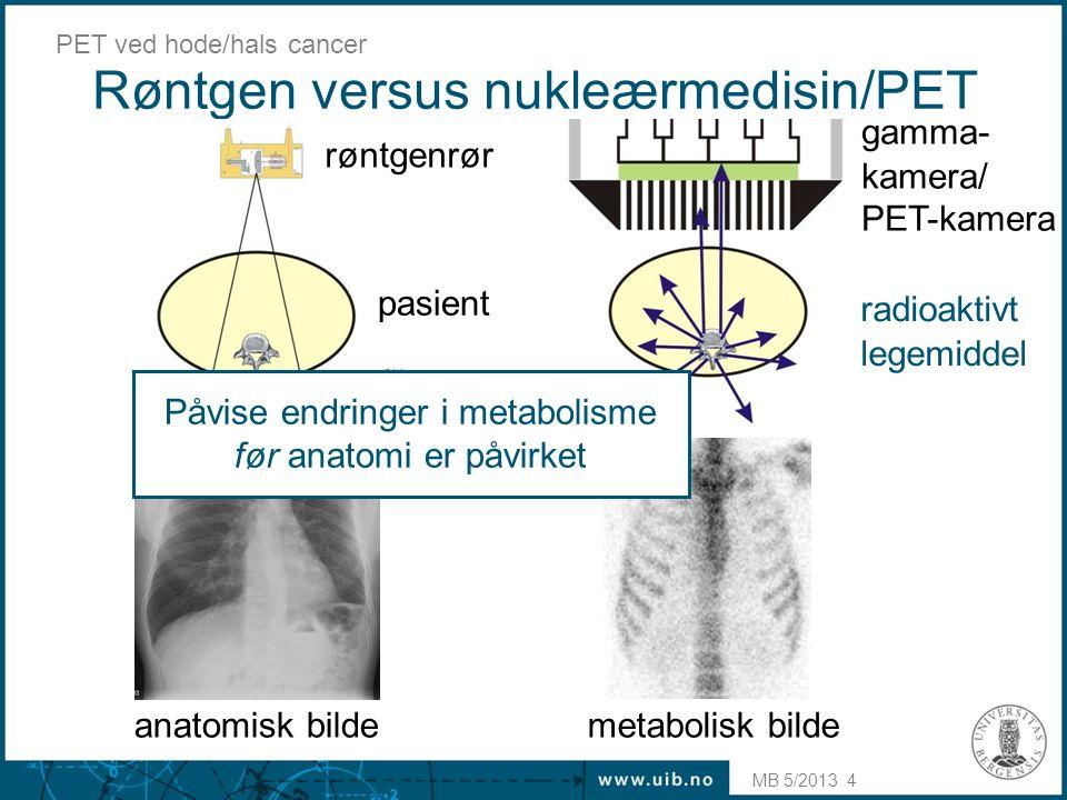MB 5/2013 PET ved hode/hals cancer 5 Positronstråling (  + ) Positroner = anti-elektroner –positron bremses i vevet i løpet av 1 – 2 mm –kollisjon med elektron: annihilasjonsstråling E = mc 2 – 2 fotoner i motsatt retning 180° 
