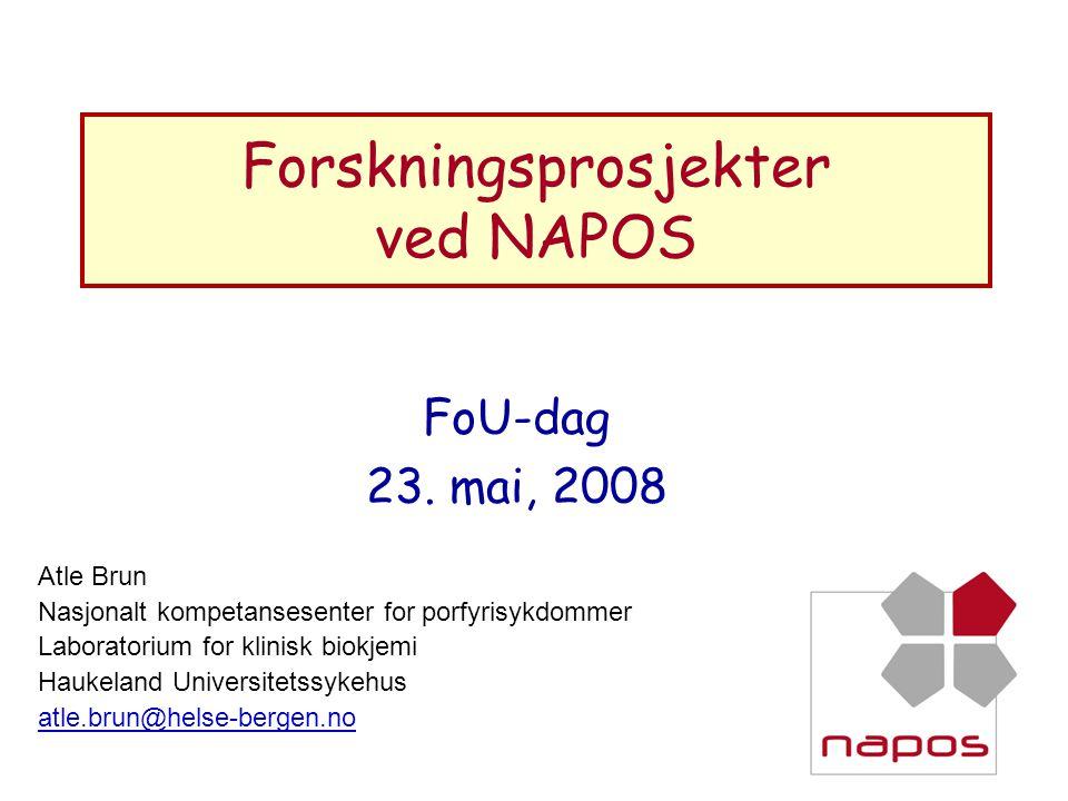 Forskningsprosjekter ved NAPOS FoU-dag 23. mai, 2008 Atle Brun Nasjonalt kompetansesenter for porfyrisykdommer Laboratorium for klinisk biokjemi Hauke