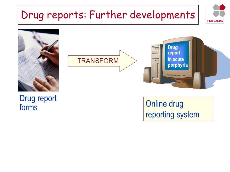 Drug reports: Further developments Drug report forms TRANSFORM Drug report in acute porphyria Online drug reporting system