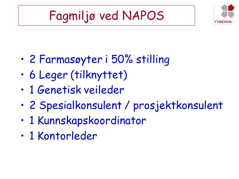 Fagmiljø ved NAPOS •2 Farmasøyter i 50% stilling •6 Leger (tilknyttet) •1 Genetisk veileder •2 Spesialkonsulent / prosjektkonsulent •1 Kunnskapskoordi