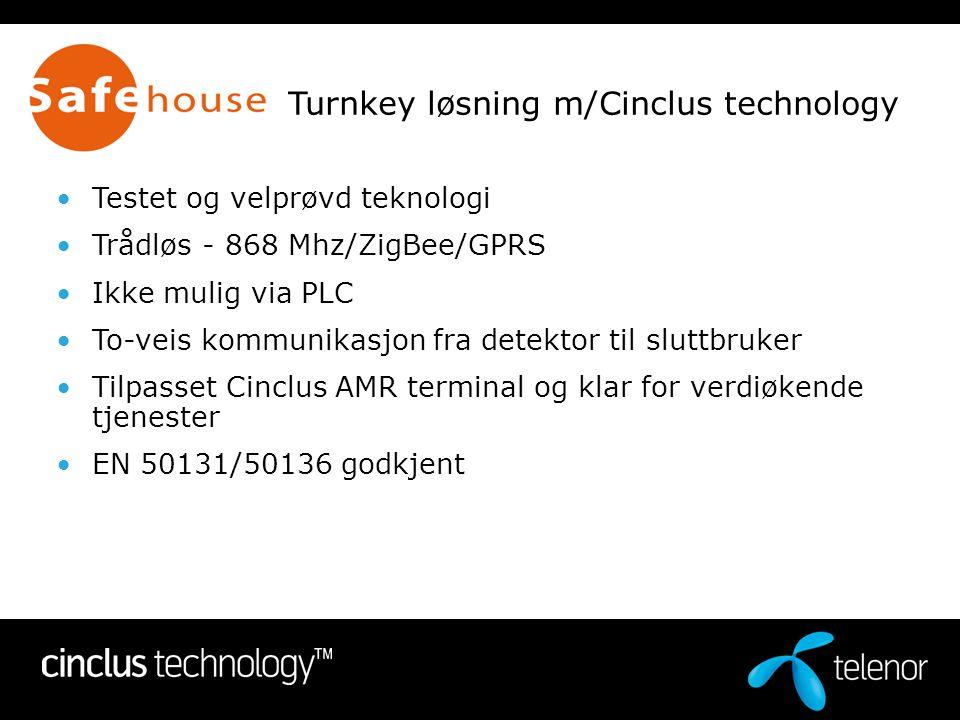 Turnkey løsning m/Cinclus technology •Testet og velprøvd teknologi •Trådløs - 868 Mhz/ZigBee/GPRS •Ikke mulig via PLC •To-veis kommunikasjon fra detek
