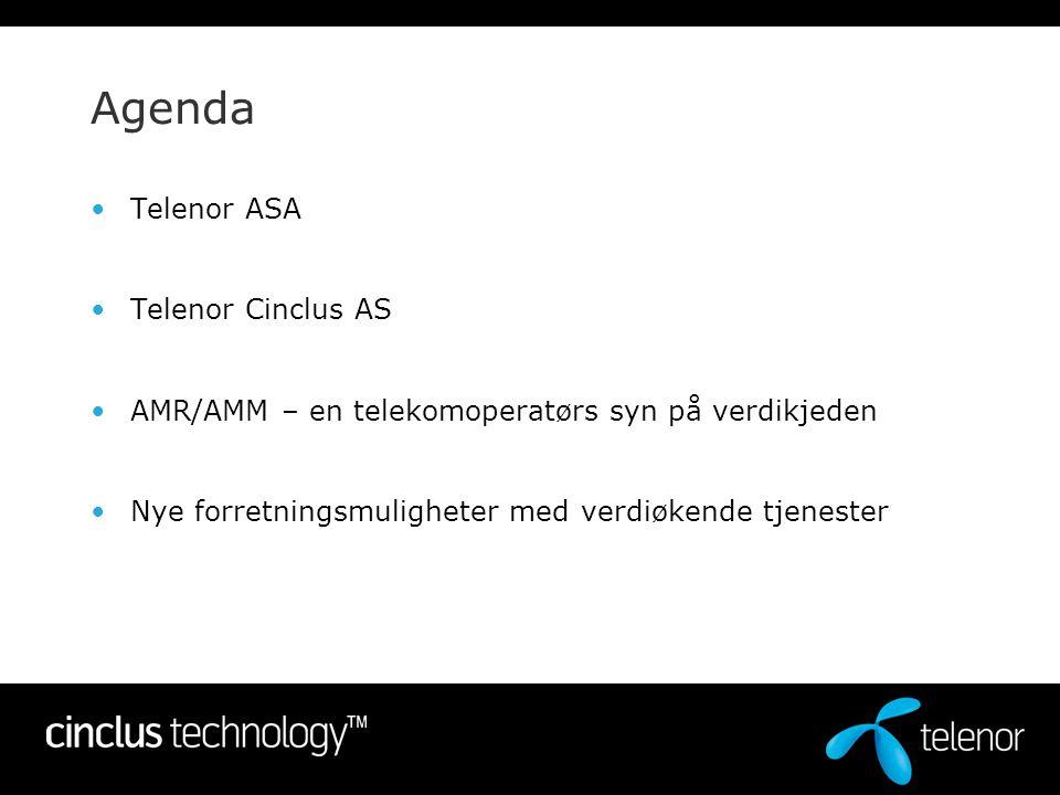Agenda •Telenor ASA •Telenor Cinclus AS •AMR/AMM – en telekomoperatørs syn på verdikjeden •Nye forretningsmuligheter med verdiøkende tjenester