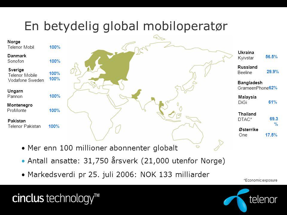 Hvorfor Telenor fokuserer på M2M •I dag: –6 Mrd mennesker på jorden –2 Mrd mobilbrukere •Potensiale: –30 – 50 Mrd maskiner –Mer enn 40% av maskinene vil kommunisere (M2M), Gartner Group => 12 – 20 Mrd nye mobile brukere