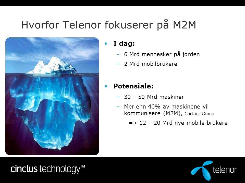 Hvorfor Telenor fokuserer på M2M •I dag: –6 Mrd mennesker på jorden –2 Mrd mobilbrukere •Potensiale: –30 – 50 Mrd maskiner –Mer enn 40% av maskinene v