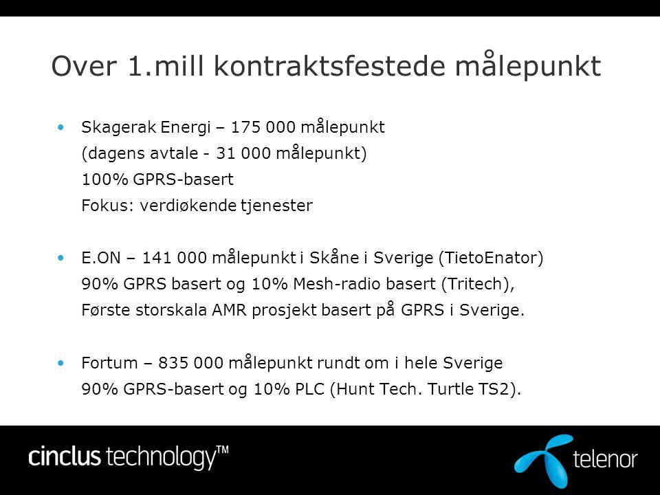 En partner for fremtiden •Telenor Cinclus: 66% Telenor ASA og 34 % Skagerak Energi •75 ansatte i Norge, Sverige og Finland •Med utgangspunkt i vår erfaring: –Avanserte IT- og kommunikasjons infrastruktur prosjekter –Omfattende vedlikeholds- og overvåkningsløsninger –Solid forståelse for utfordringene knyttet til AMR både fra et kunde- og leverandørperspektiv =>Ledende AMR tjenesteleverandør/muliggjører Cinclus