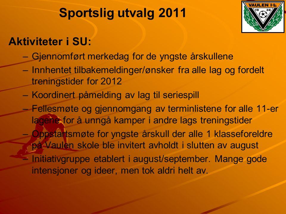 Sportslig utvalg 2011 Aktiviteter i SU: – –Gjennomført merkedag for de yngste årskullene – –Innhentet tilbakemeldinger/ønsker fra alle lag og fordelt
