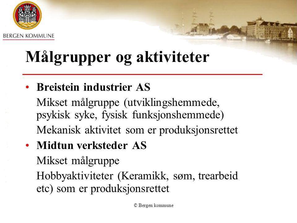 © Bergen kommune Målgrupper og aktiviteter •Breistein industrier AS Mikset målgruppe (utviklingshemmede, psykisk syke, fysisk funksjonshemmede) Mekani