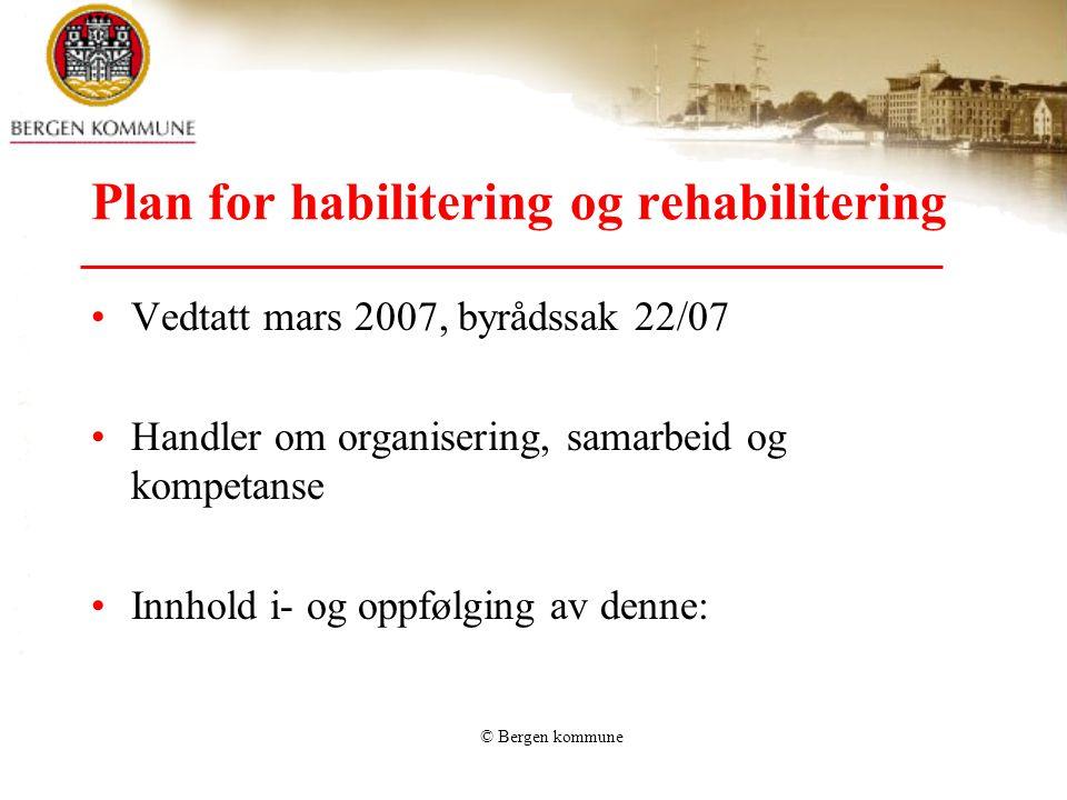 © Bergen kommune Plan for habilitering og rehabilitering •Vedtatt mars 2007, byrådssak 22/07 •Handler om organisering, samarbeid og kompetanse •Innhol