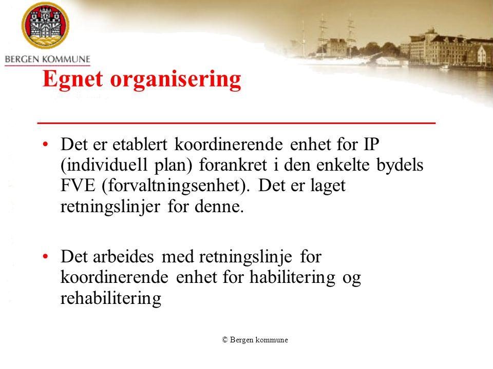 © Bergen kommune Egnet organisering •Som del av et større prosjekt sammen med HUS og to tilgrensende kommuner arbeides det med å utvikle resten av rehabiliteringskjeden; –dagrehabilitering –oppsøkende rehabilitering ved hjelp av team.