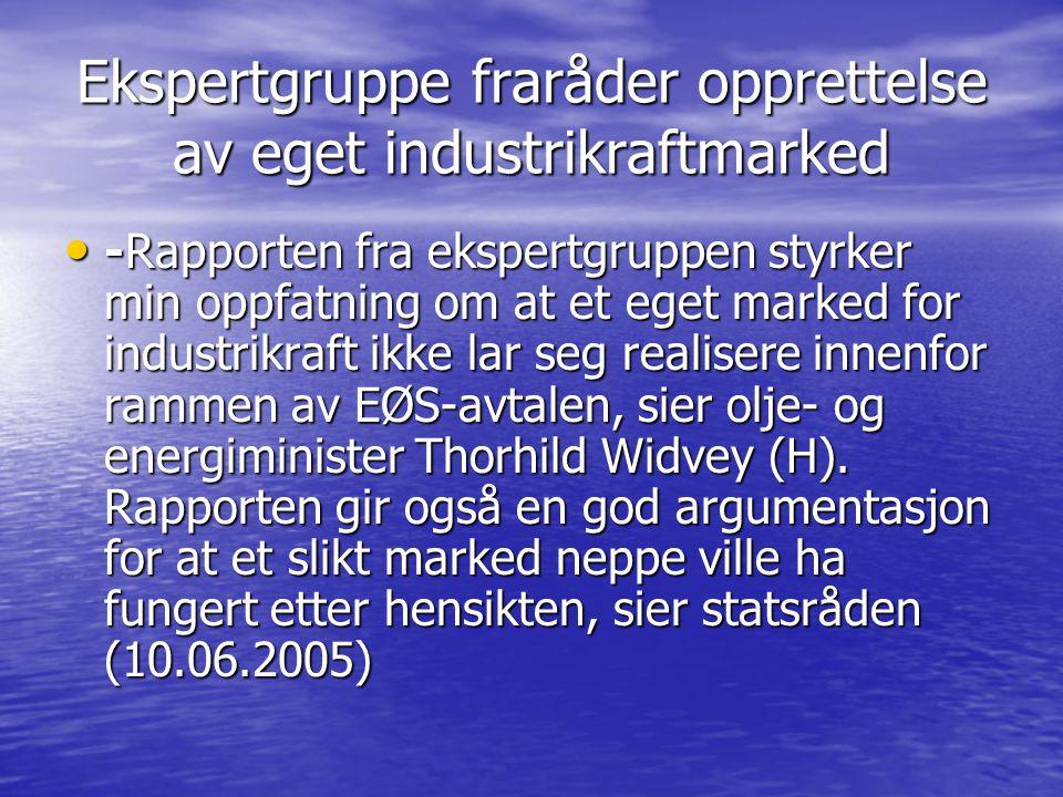 Ekspertgruppe fraråder opprettelse av eget industrikraftmarked • -Rapporten fra ekspertgruppen styrker min oppfatning om at et eget marked for industrikraft ikke lar seg realisere innenfor rammen av EØS-avtalen, sier olje- og energiminister Thorhild Widvey (H).