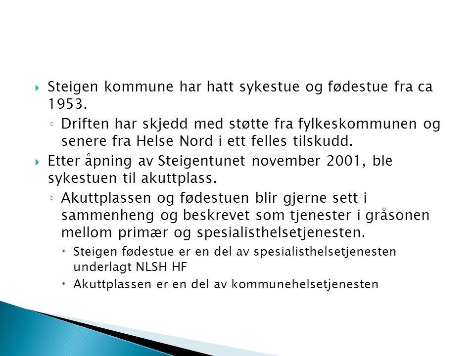  Steigen kommune har hatt sykestue og fødestue fra ca 1953. ◦ Driften har skjedd med støtte fra fylkeskommunen og senere fra Helse Nord i ett felles