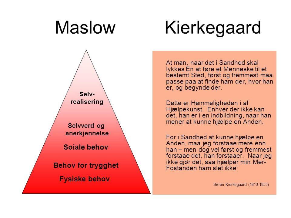 Maslow Kierkegaard At man, naar det i Sandhed skal lykkes En at føre et Menneske til et bestemt Sted, først og fremmest maa passe paa at finde ham der