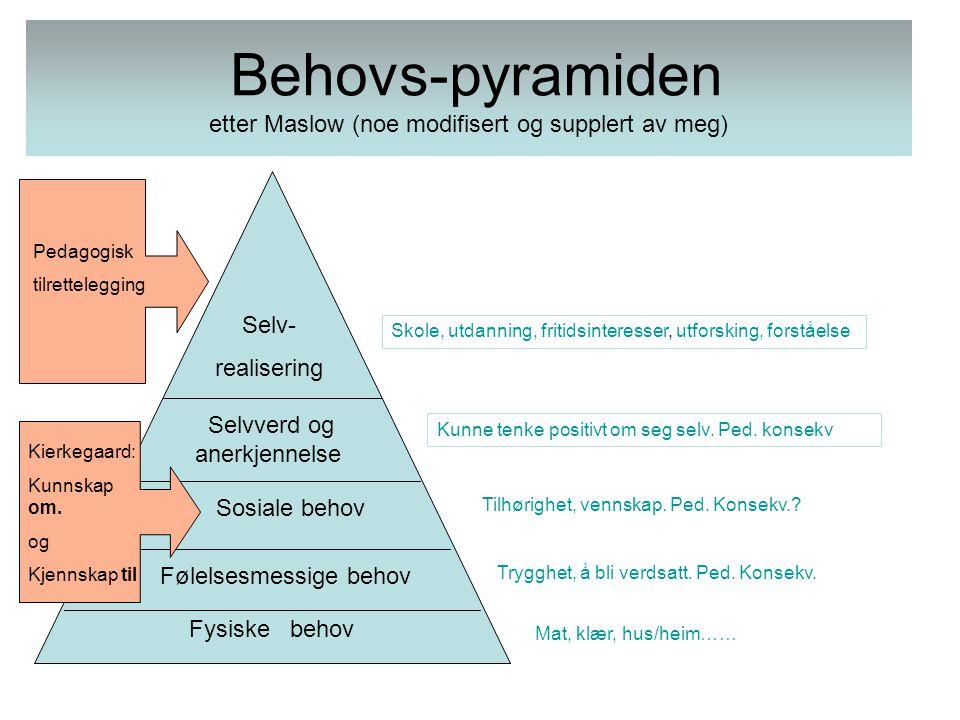 Behovs-pyramiden etter Maslow (noe modifisert og supplert av meg) Fysiske behov Følelsesmessige behov Sosiale behov Selvverd og anerkjennelse Selv- re