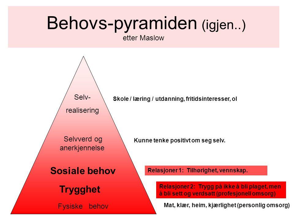 Behovs-pyramiden etter Maslow (noe modifisert og supplert av meg) Fysiske behov Følelsesmessige behov Sosiale behov Selvverd og anerkjennelse Selv- realisering Skole, utdanning, fritidsinteresser, utforsking, forståelse Kunne tenke positivt om seg selv.
