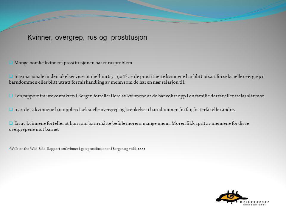  Mange norske kvinner i prostitusjonen har et rusproblem  Internasjonale undersøkelser viser at mellom 65 – 90 % av de prostituerte kvinnene har bli