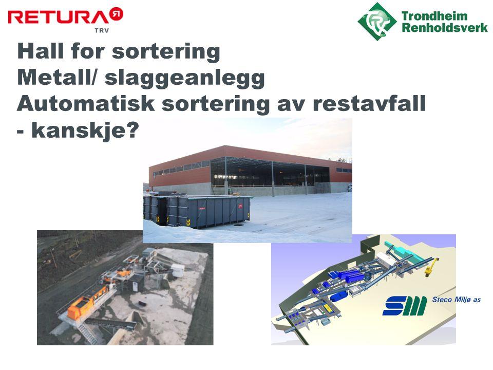 Hall for sortering Metall/ slaggeanlegg Automatisk sortering av restavfall - kanskje?