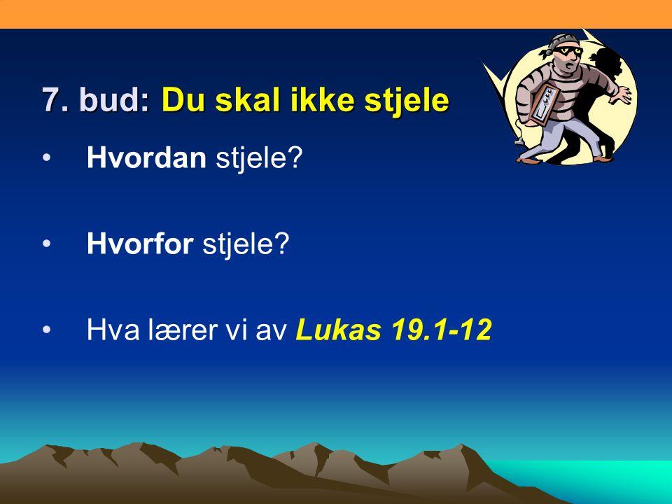 7. bud: Du skal ikke stjele •Hvordan stjele? •Hvorfor stjele? •Hva lærer vi av Lukas 19.1-12
