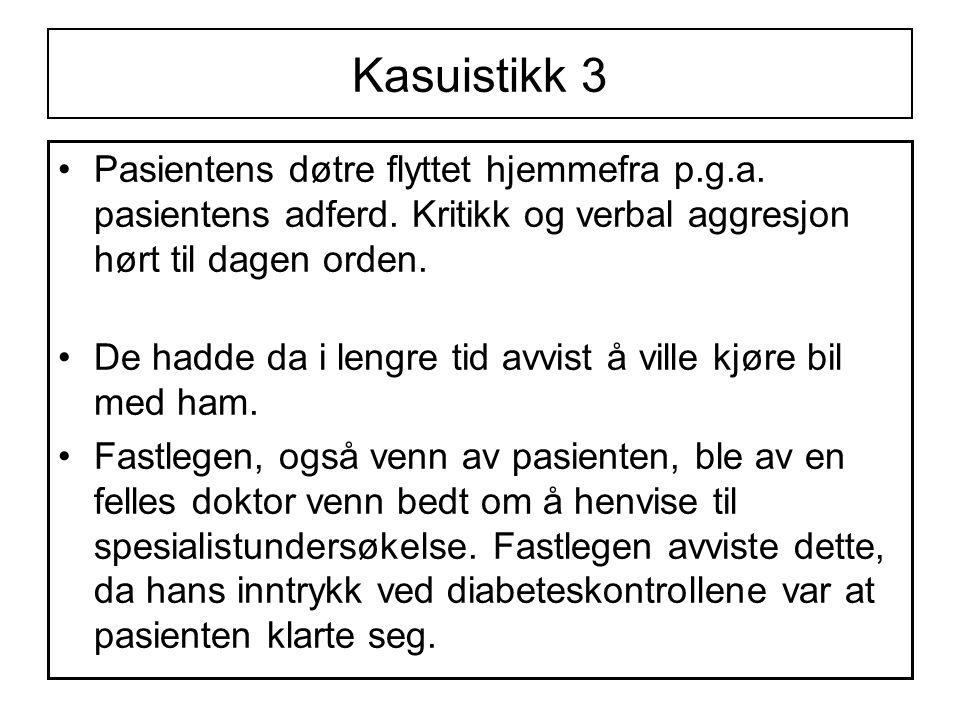 Kasuistikk 3 •Pasientens døtre flyttet hjemmefra p.g.a.