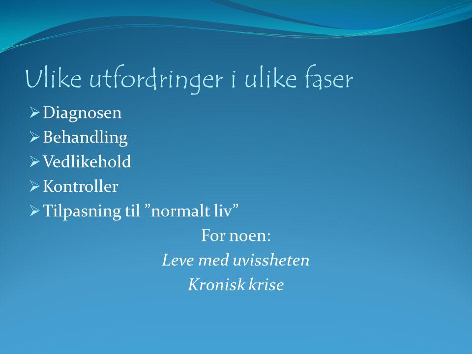 Utfordringer i ulike faser  Fødsel/diagnose  Sjokket  Angst, uro, frykt  Hjelpeløshet  Utilstrekkelighetsfølelse Marianne Straume Senter for Krisepsykologi 2010