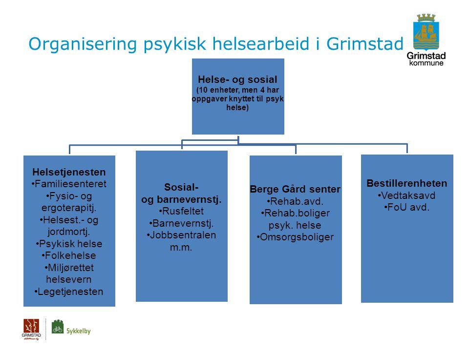 Organisering psykisk helsearbeid i Grimstad Helse- og sosial (10 enheter, men 4 har oppgaver knyttet til psyk helse) Helsetjenesten •Familiesenteret •Fysio- og ergoterapitj.