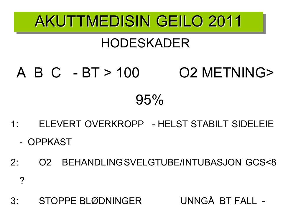 AKUTTMEDISIN GEILO 2011 HODESKADER A B C - BT > 100 O2 METNING> 95% 1:ELEVERT OVERKROPP- HELST STABILT SIDELEIE - OPPKAST 2:O2 BEHANDLINGSVELGTUBE/INT